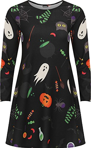 WEARALL Women's Plus Halloween Print Fancy Costume Long Sleeve Flared Swing Dress - Black - US 16 (UK 20)