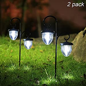 517DNY Jh7L. SS300  - Maggift Hanging Solar Lights Outdoor with Double Shepherd Hook Solar Landscape Lights Solar Garden Lights for Lawn, Patio, Yard, Walkway, Pathway, Garden, Landscape, 2 Pack