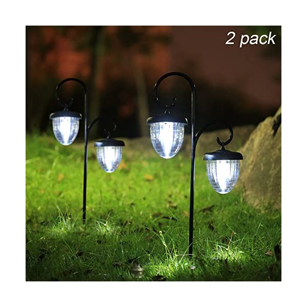 517DNY Jh7L. SS600  - Maggift Hanging Solar Lights Outdoor with Double Shepherd Hook Solar Landscape Lights Solar Garden Lights for Lawn, Patio, Yard, Walkway, Pathway, Garden, Landscape, 2 Pack