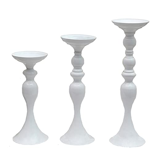 Christmas Tablescape Decor - Elegant white metallic pillar candle holder trio set