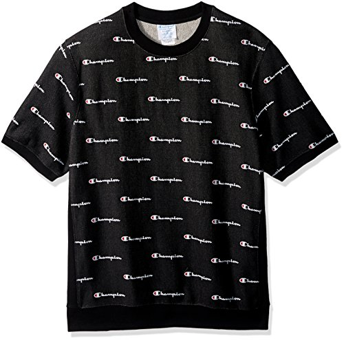 Champion Men's Reverse Weave French Terry Crew, Cow Champion Script New Ebony, XL