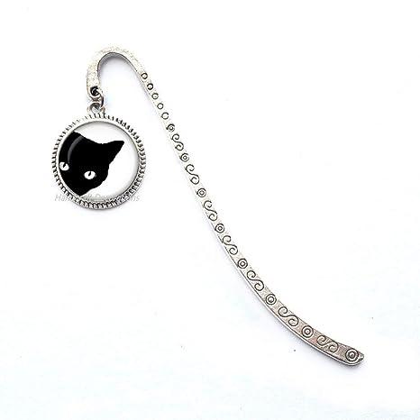 Amazon.com: Marcapáginas negro de cristal para gato ...