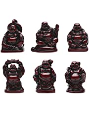 Laughing Buddha Figurines Lucky Happy Buddha Statue-Set of 6 -1'' (mini 6 set red)