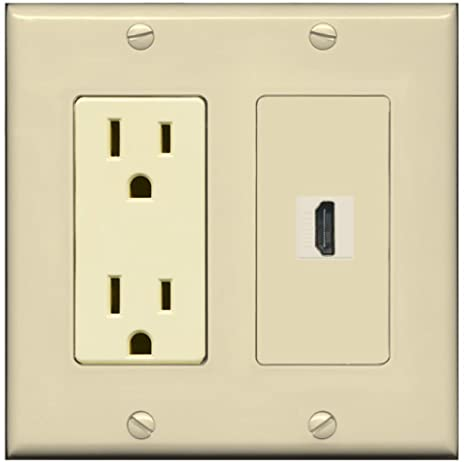 RiteAV - 15 Amp Power Outlet and 1 Port HDMI Decora Type Wall Plate - Ivory