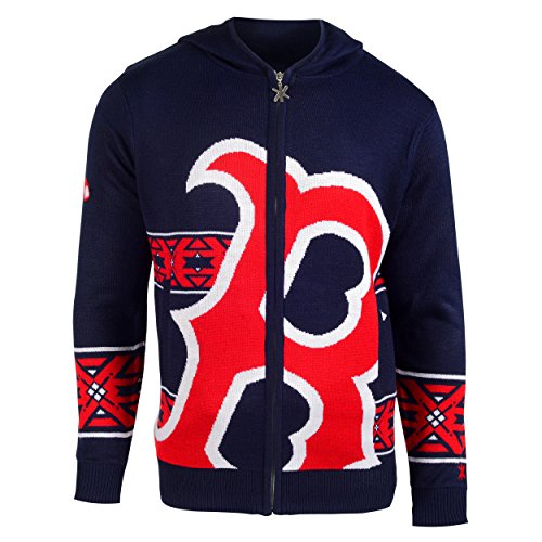 MLB Boston Red Sox Men's Full Zip Hooded Sweater, Large, Red (Sweatshirt Red Mlb)