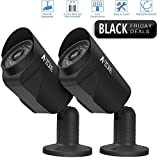 A-ZONE Bullet Dummy Fake Surveillance Security CCTV Bullet Camera Indoor Outdoor + Warning Security Alert Sticker Decals, 2 Pack