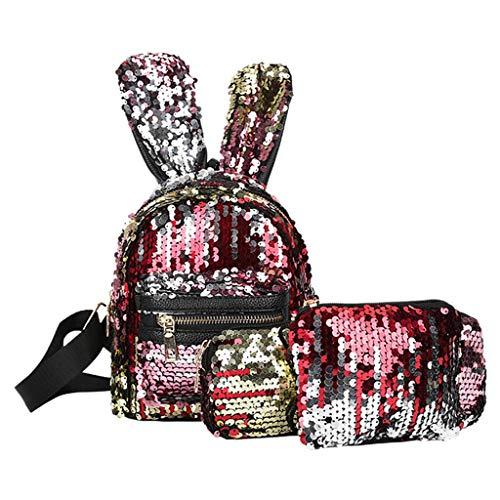 (Bambus ♛ 3Pcs Mermaid Sequin Backpacks Reversible Sequins Magic Glittering Rabbit Ears School Bags Pen Bag Clutch for Girls Kids Daughter)