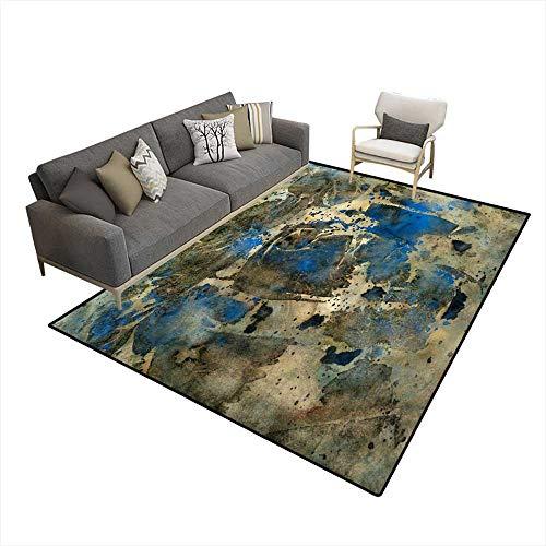 Room Home Bedroom Carpet Floor Mat Golden Blue Abstract 6'x9' (W180cm x L270cm