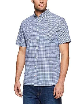 TOMMY HILFIGER Men's Custom Fit Gingham Short Sleeve Shirt, Blue Depths/Bright White, XS