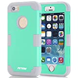 case for iPhone 5S ,Fetrim 3 Layer Shockproof Drop Proof High Impact Armor Silicone Case Protective Cover for Apple iPhone 5 5S SE (Green + Gray)