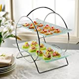 2 Tier Round Server Stand with Trays - Tiered Serving Platter - Perfect for Cake, Dessert, Shrimp, Appetizers & More