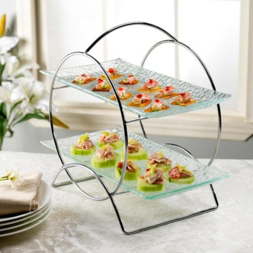 Pink 2 Tiered Serving Tray - 5