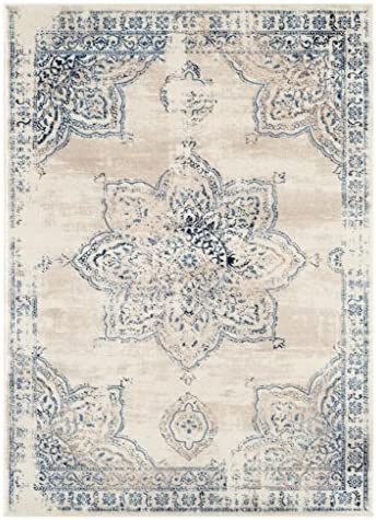 Persian-Rugs 5934 Distressed Ivory 8 x 10 Area Rug Carpet Large New