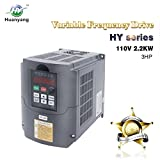 VFD 110V 2.2KW 3hp Variable Frequency CNC Motor Drive Inverter Converter for Spindle Speed Control HUANYANG HY-Series(2.2KW, 110V)