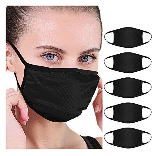 Louyue 5 Pack Fashion Protective, Unisex Black Dust Cotton, Washable, Reusable Cotton Fabric