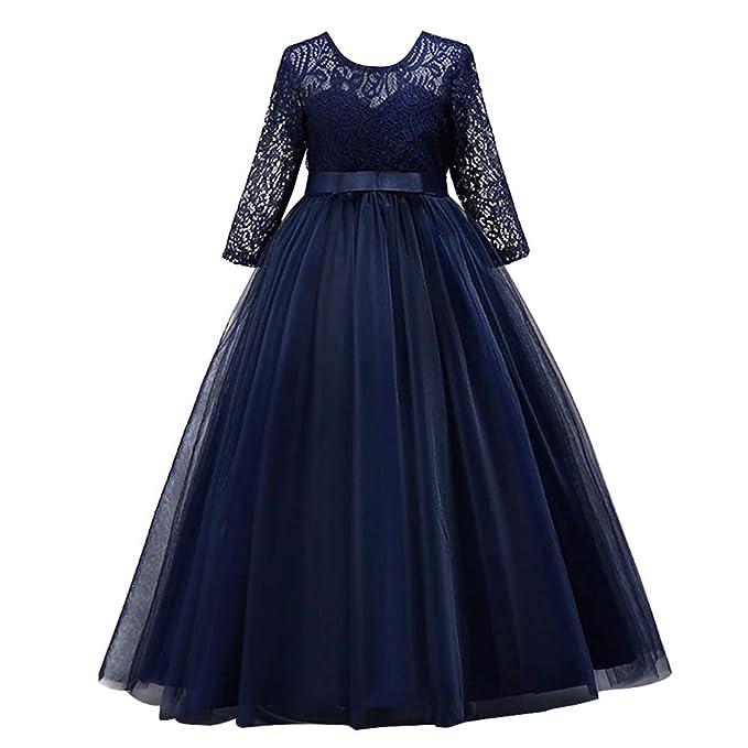 d9dba396a IWEMEK Elegante Vestido de Fiesta Formal para Niñas 3 4 Largo Manga Tul  Vestidos de