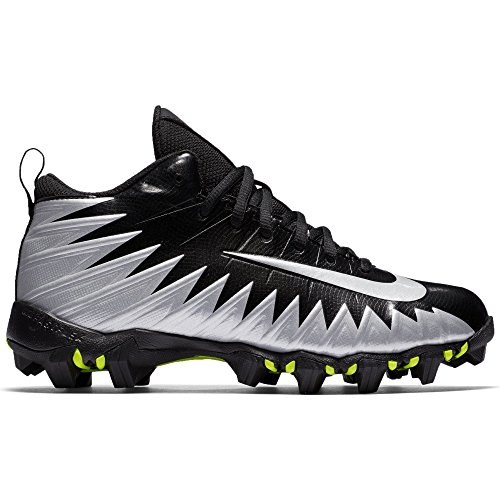 NIKE Boy's Alpha Menace Shark (GS) Football Cleat Black/Metallic Silver/White Size 2.5 M US