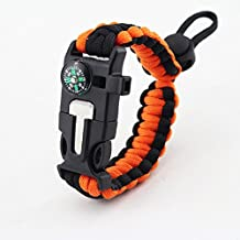 Goodlife Outdoor Survival Paracord Bracelet With Compass Fire Starter And Emergency Whistle
