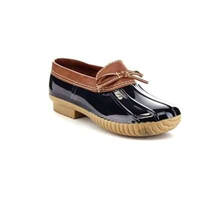 33e3b668689 AXNY Dylan-10 Women s Two Tone Bow Accents Slip-On Rain Loafer Flat Duck