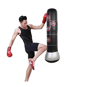 145cm Inflatable Heavy Punching Bag Target Stand Punching Kick Training Tumbler Bop Bag Boxing Punch Bag Freestanding Punching Bag for Kid Adult