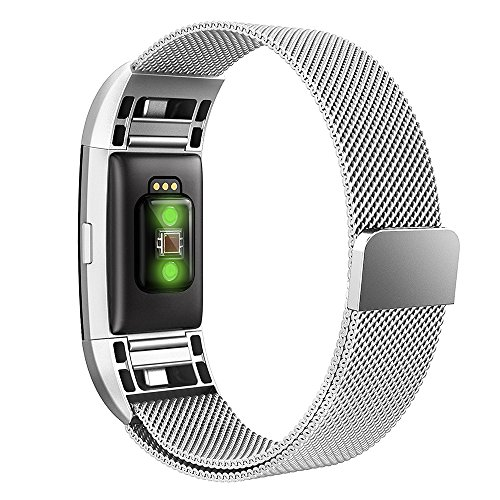 Simpeak Correa para Fitbit charge 2 (5.25-6.7 pulgadas), Milanese Loop Correa de Acero Inoxidable Reemplazo Wristband...