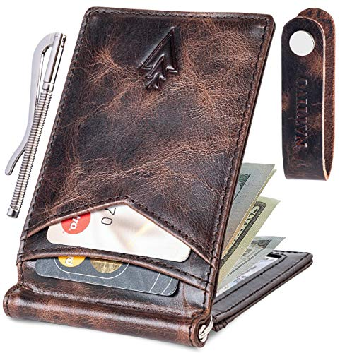 Men's Leather RFID Money Clip Slim Wallet with Leather Keychain (Chocolate Brown, Genuine leather)