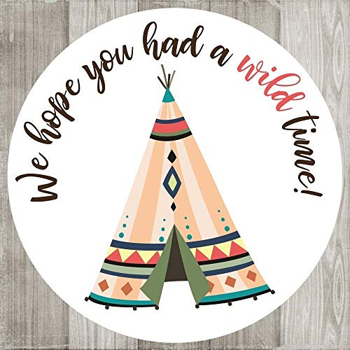 Pink Tribal Tee Pee Wild Thank You Sticker Labels - Birthday Baby Wedding Party Favors - Set of 50