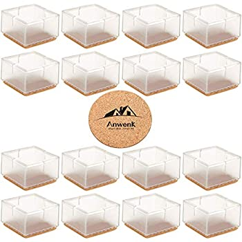 Chair Leg Caps Round Warmhut 16pcs Transparent Clear