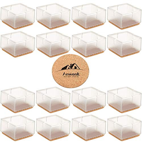 Anwenk Large Table Chair Leg Floor Protectors 1-15/16 to 2-1/8 (49mm-55mm) Large Furniture Sofa Leg Caps Square Silicone, Large Chair Leg Tips with Felt Pads Clear (16 Pack)