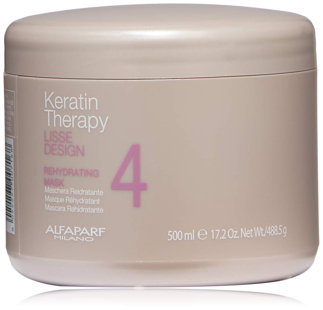 Alfaparf Milano Keratin Therapy Lisse Design Rehydrating Mask - Maintain and Enhance Keratin Treatment - Moisturize and Limit Natural Drying - Professional Salon Quality - 17.2 oz.