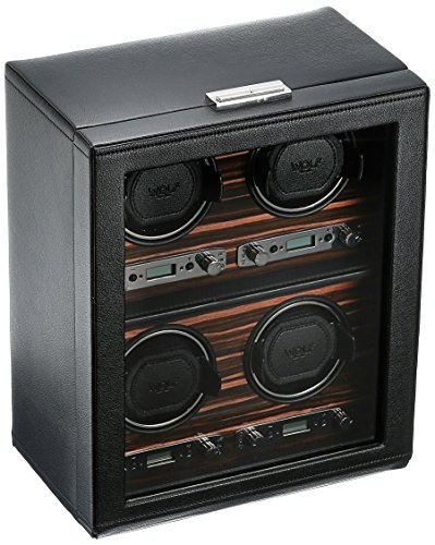 Automatic Roadster - WOLF 459156 Roadster 4 Piece Watch Winder with Cover, Black