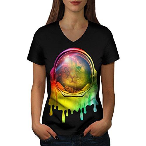 [Astronaut Cat Color Space Pet Women NEW XXL V-Neck T-shirt | Wellcoda] (Spaceman Suit Costume)