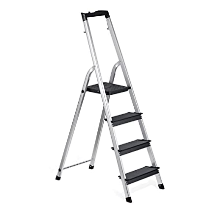 delxo lightweight aluminum 4 step ladder with tool tray folding step stool stepladders home and kitchen - Kitchen Step Ladder