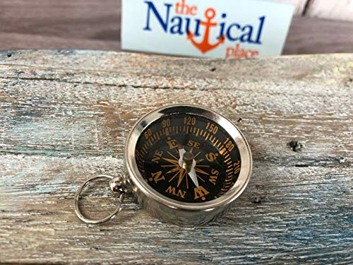 Chrome/Silver Finish Brass Pocket Compass - Necklace Pendant - Vintage Style for Home Decor Collection