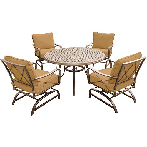 Hanover SUMRNGTDN5PCCST Summer Nights 5 Piece Dining Set with Four Cushioned Rockers and a 48