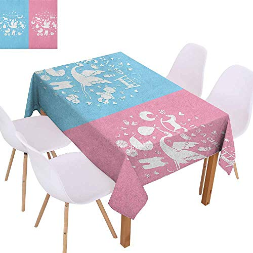 Marilec Rectangular Tablecloth Gender Reveal Cute Icons Girls Boys Baby Shower Theme Stylized Toys Pattern Table Decoration W59 xL71 Sky Blue and Pale Pink ()