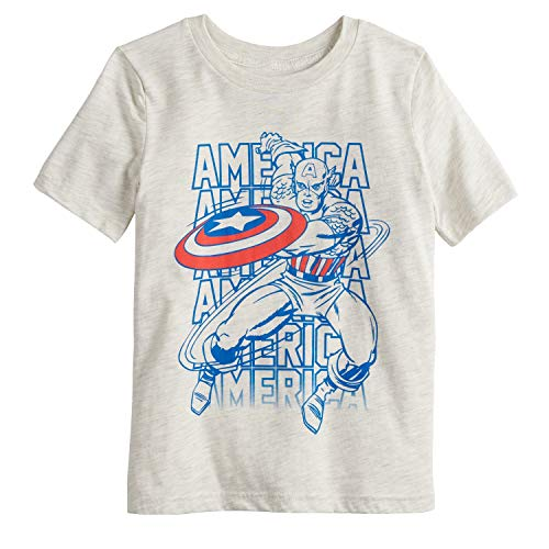 Jumping Beans Little Boys' 4-12 Captain America Tee 8 Oatmeal Heather