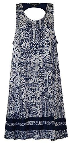 - Ellen Tracy Racer Open-Back Geo Print Lounge Dress/Nightgown (Navy w/Cream Geo Print Navy Hemline Trim, Medium)
