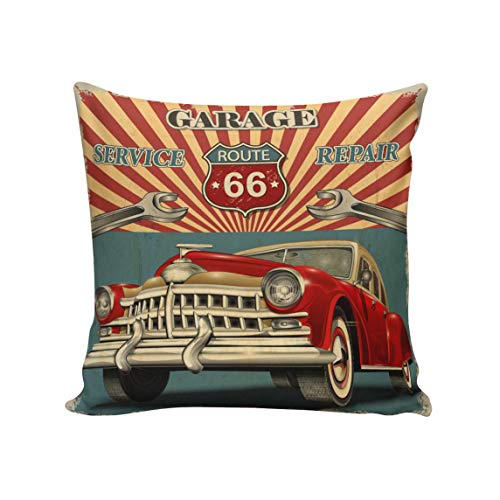 Vintage Fabric Pillows - Rocking Giraffe Vintage Car Service Repair Route 66 Throw Pillow Case Decorative Square Cushion Cover Supersoft Satin Fabric Pillowcase for Home Couch Sofa Bed 20 x 20 Inch 50 x 50 cm