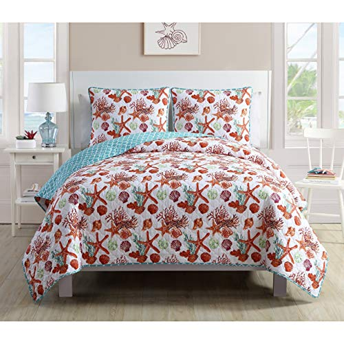(MISC White Blue Red Starfish Quilt Full/Queen Set Nautical Star Fish Bedding Coral Seashell Decor Shells Tropical Pattern Nautical Themed Polyester, 3 Piece)
