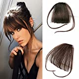 Reysaina Human Hair One Piece Straight Clip in Hair Extensions Flat Air Fringe Front Bangs with Hair Temples #4 Dark Brown