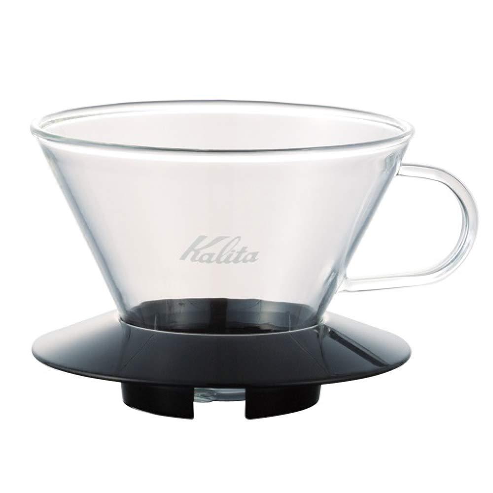 """Kalita 05039 Glass Wace Dripper 185 Black Coffee Dipper, 82 mm/3.2"""", Clear"""