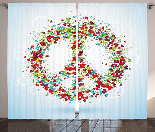 Ambesonne Groovy Decorations Curtains 2 Panel Set, Peace Symbol Made by Hearts Unity Lack of Conflict No More Hostility Theme Illustration, Living Room Bedroom Decor, 108 W X 84 L Inches, Multi