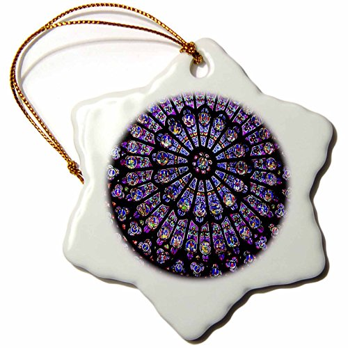 3dRose orn_50227_1 Notre Dame Cathedral Stained Glass Snowflake Porcelain Ornament, (Notre Dame Stained Glass)