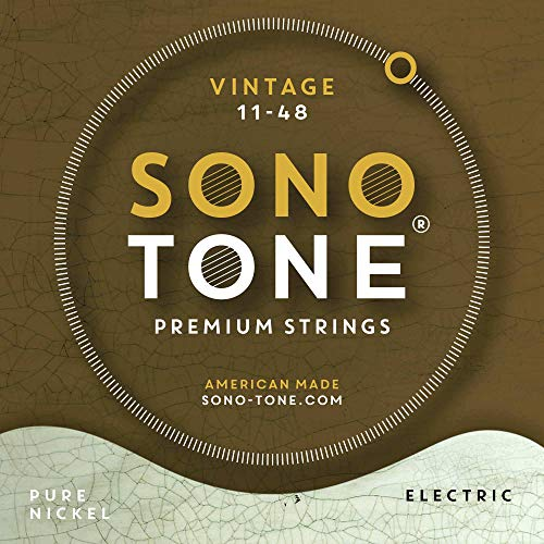 Electric Wrap Guitar Nickel Pure - SonoTone Vintage, 11-48, Medium, Electric Guitar Strings, Pure Nickel Wrap, Hand-Wound, Hex Core, Pure, Warm, Authentic Tone, American Made