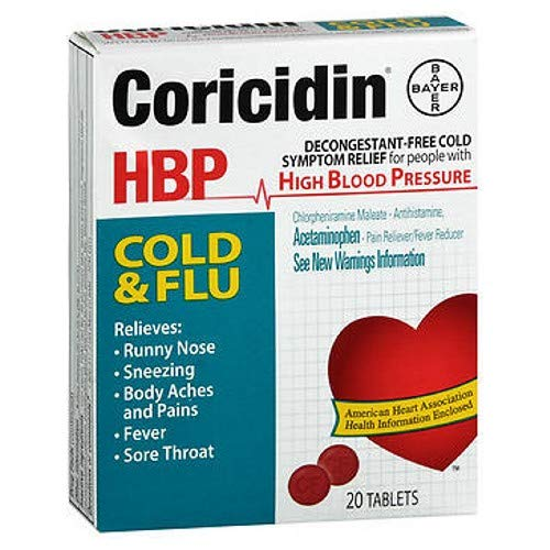 Coricidin HBP Cold & Flu Tablets, 20 ea (Pack of 2)