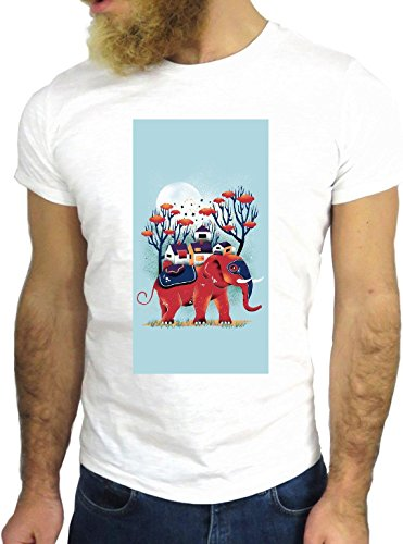 T SHIRT JODE Z1575 RED ELEPHANT CARTOON TREE SKY MOON FUN COOL FASHION NICE GGG24 BIANCA - WHITE L