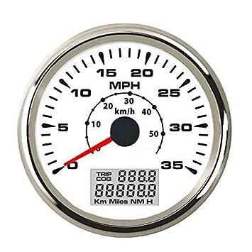 ELING - Velocímetro universal para coche, barco o camión (0-35 MPH, 0-55 km/h, con 8 diferentes retroiluminaciones, 85 mm): Amazon.es: Coche y moto