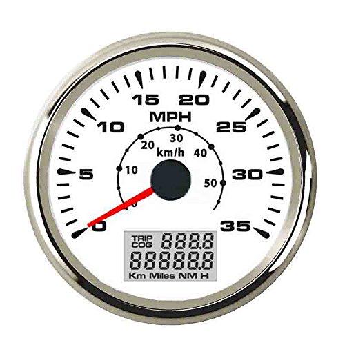 ELING Marine Auto GPS Speedometer Speedo Velometer 0-35MPH 0-55KM/H Odometer Mileage Backlight 85mm ()