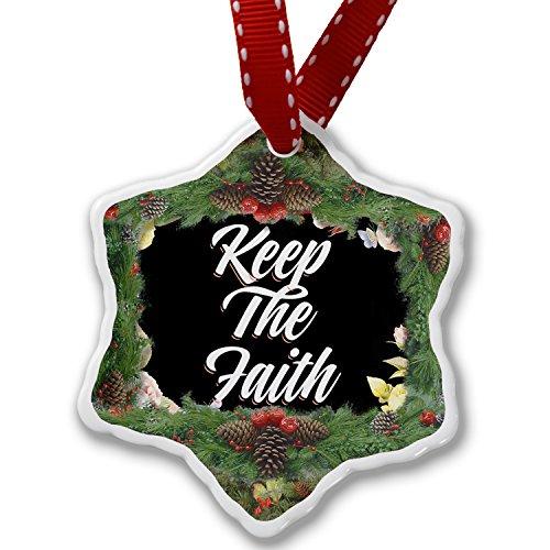Christmas Ornament Floral Border Keep The Faith - Neonblond by NEONBLOND